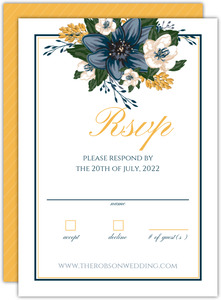 Elegant Blue Florawl Wedding Response Card