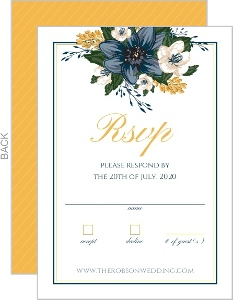Elegant Blue Floral Wedding Response Card