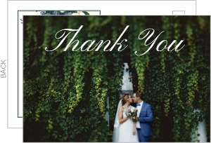 Elegant Blue Floral Wedding Thank You Postcard