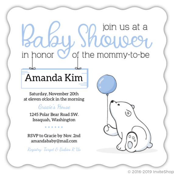 Soft Blue Polar Bear Baby Shower Invitation Baby Shower Invitations