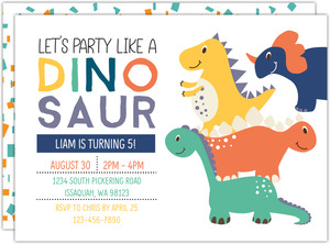 Party Like A Dino Kids Birthday Invitation