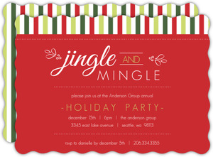 Jingle Mingle Green Stripes Business Holiday Party Invitation