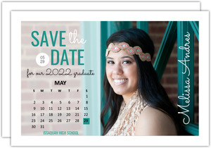 Aqua Calendar Graduation Announcement