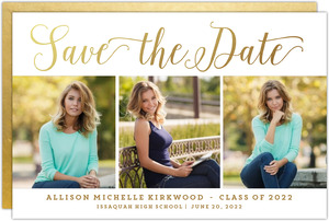 Faux Gold Foil Graduation Save the Date Announcement