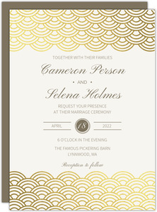 Gold Foil Scallop Pattern Wedding Invitation