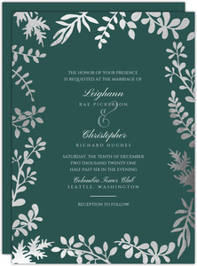 Elegant Foil Foliage Frame Wedding Invitation
