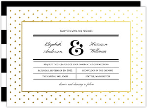 Gold Foil Polka Dot Frame Wedding Invitation