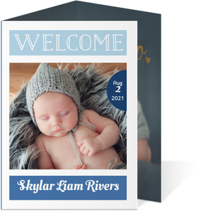 Modern Blue Baby Photo Trifold Birth Announcement