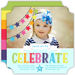 Colorful Rainbow Celebrations Kids Birthday Invitation