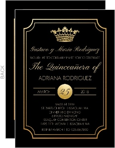 Gold Princess Crown Quinceanera Invitation