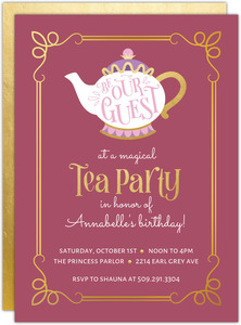 Be Our Guest Tea Party Birthday Invitation