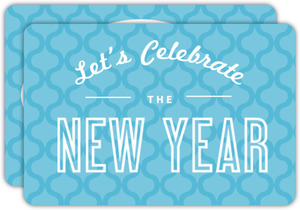 Blue Retro New Years Party Invitation