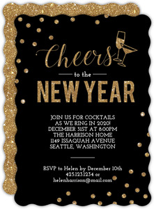Confetti Cheers Faux Glitter New Years Invitation