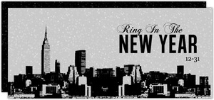 Grunge Cityscape New Years Invitation