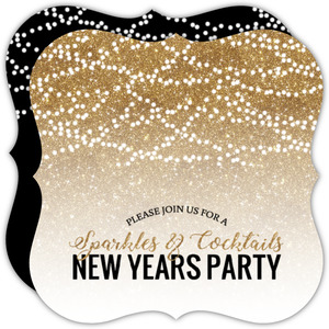 Faux Glitter New Years Party Invitation