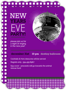Purple Disco Ball New Years Invitation