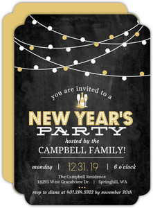 Hanging Gold Lights Chalkboard New Years Invitations