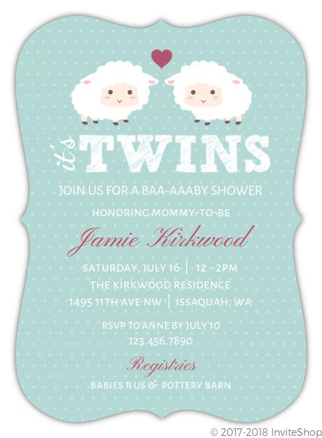 Baby Sheep Twins Baby Shower Invitation Baby Shower Invitations