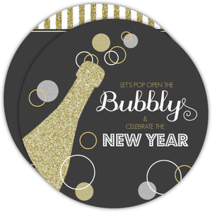 Silver Gold Bubbly New Years Invitation