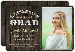 Senior Photo Rustic Wood Graduation Announcement
