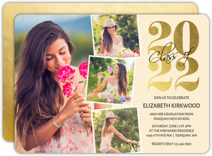 Photo Strip Faux Foil Graduation Invitation