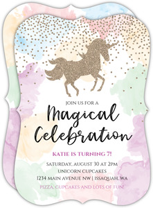Watercolor Magical Unicorn Birthday Invitation
