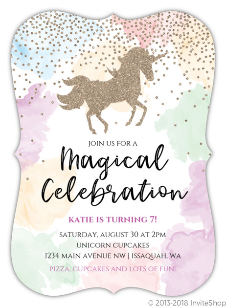Watercolor Magical Unicorn Birthday Invitation