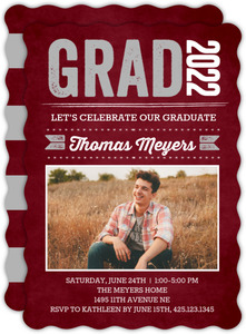 Red Chalkboard Graduation Party Invitation