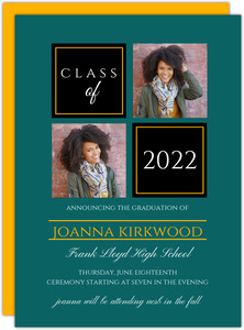 Two Color Photo Grid Graduation Announcement