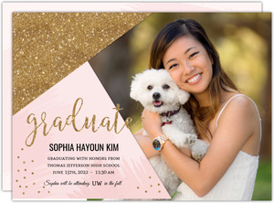Pink & Faux Gold Glitter Graduation Announcement