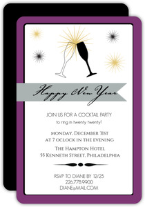 Purple Champagne Flutes New Years Invitation