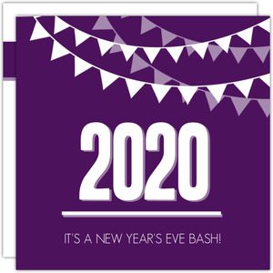 Purple Modern Flags New Years Invitation