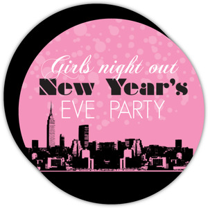 Pink City Skyline New Years Invitation