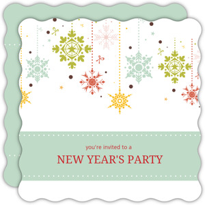 Colorful Winter Snowflakes New Years Invitation