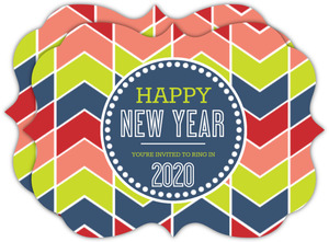 Bright Chevron New Years Invitation