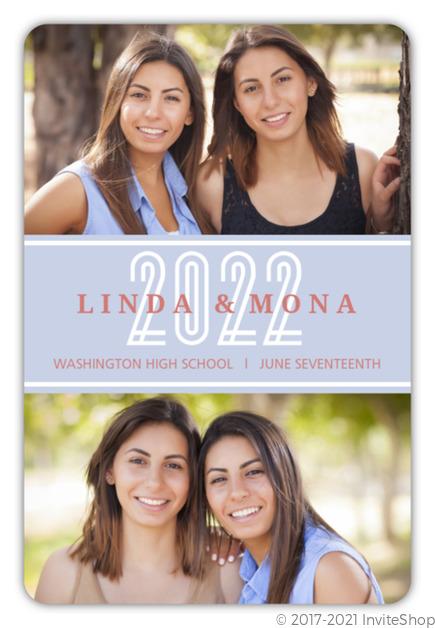 blue salmon photo collage joint twins graduation announcement