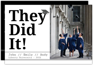 Bold Modern They Did It Joint Graduation Annoucement
