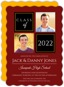 Two Color Photo Grid Joint Twins Graduation Announcement
