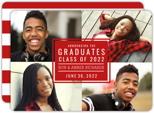 Red Photo Block Joint Sibling Graduation Announcement