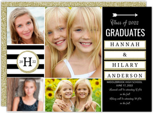 Faux Glitter Sophisticated Joint Twins Graduation Annoucement