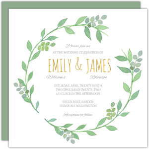 Greenery Wreath Watercolor Wedding Invitation