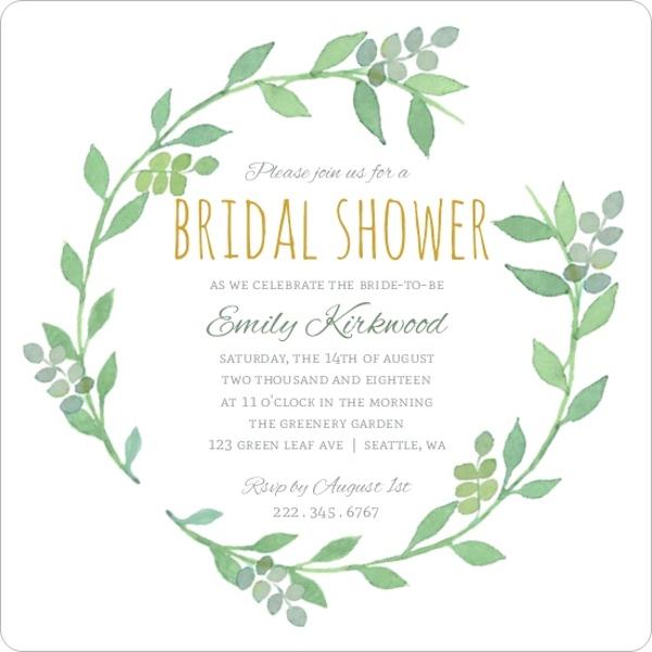 Greenery wreath watercolor bridal shower bridal shower for Bridal shower email invitations