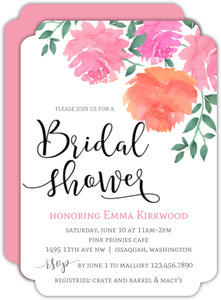 Watercolor Peonies Bridal Shower Invitation