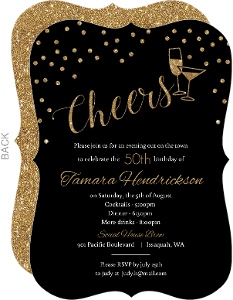 Faux Glitter Cheers 50th Birthday Party Invitation
