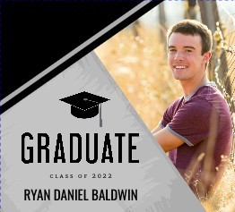 Black and Gray Modern Graduation Booklet Invitation