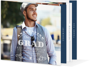 Modern White & Blue Law School Graduation Booklet Invitation
