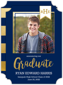 Navy & Gold Modern Banner Graduation Announcement