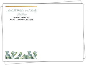 Watercolor Greenery Foliage Custom Envelope