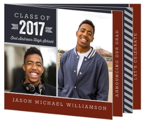 Red and Navy Stripe Booklet Graduation Announcement