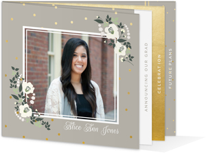 Ivory Flower Polka Dot Booklet Graduation Announcement